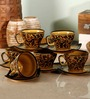 Unravel India 150 ML Hand Painted Brown Cup and Saucer Set - Set of 6
