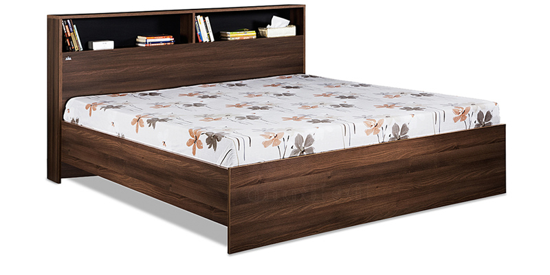 Urban Queen Bed without Storage in Acacia Dark & Black Finish by Debono