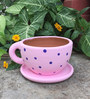 Uru Products Handpainted Pink Cup & Saucer Designed Planter with Blue Polka Dots