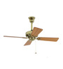 Usha Hunter Bayport Brass Ceiling Fan with Oak Blades