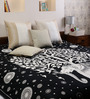 Uttam Elephant Tree Print Black & White Cotton 90 x 83 Inch Bedsheet