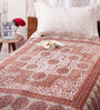 Uttam Indian Ethnic Red Cotton 84 x 54 Inch Bed Sheet