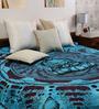 Uttam Tie-Dye Buddha Print Sky Blue Cotton 90 x 83 Inch Bedsheet