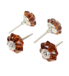 Variety Arts Glass Knobs Set of 4 Pcs-Brown
