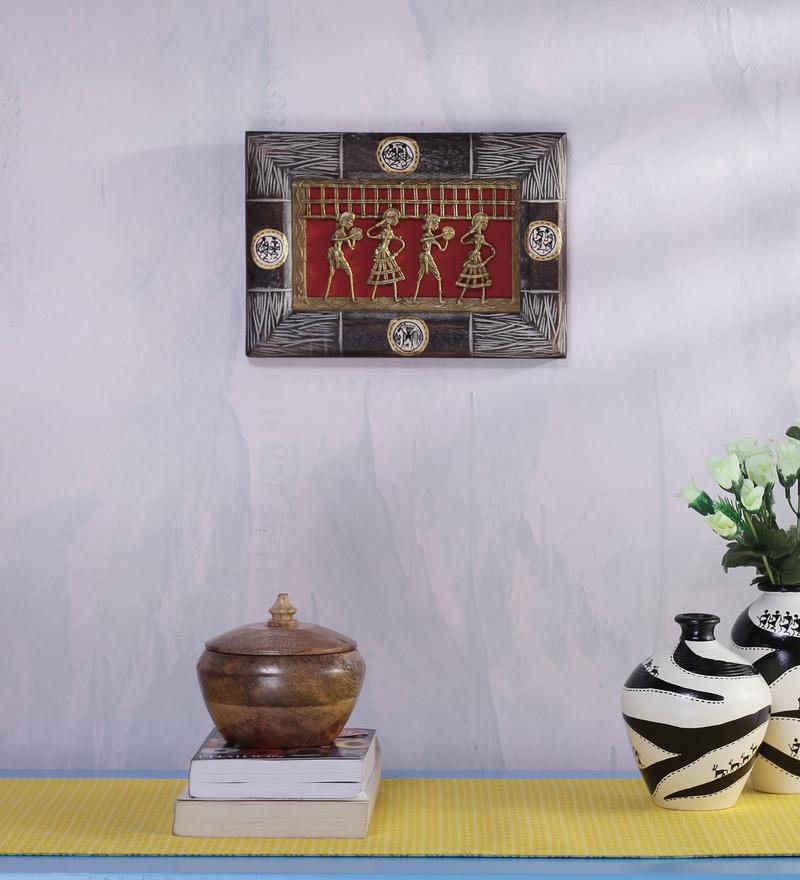 VarEesha Multicolour Wooden Ethnic Dhokra Wall Hanging