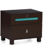 Valley Bedside Table in Dark Walnut Finish by @Home