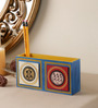 VarEesha Blue Mdf Hand Crafted Tiled Double Pen Stand