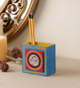 VarEesha Blue Mdf Hand Painted Tiled Pen Stand