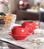VarEesha Hand Crafted Red Ceramic 125 ML Cup & Saucer - Set of 6
