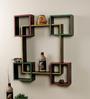 Vareesha Multicolour Mango Wood & Wrought Iron Hand Painted Wall Shelves