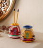VarEesha Multicolour Mdf Hand Painted Pen Stands - Set of 2