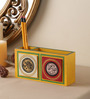 VarEesha Yellow Mdf Hand Crafted Tiled Double Pen Stand