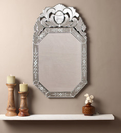 Venetian Design Silver Glass & MDF Octagonal Decorative Mirror