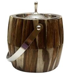 Virgin Craft Stainless Steel Wood Crafted 1500 ML Ice Bucket