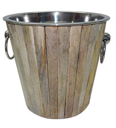 Virgin Craft Stainless Steel Wood Crafted Champagne Bucket
