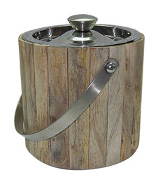 Virgin Craft Stainless Steel Wood Crafted Double Wall Ice Bucket