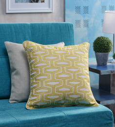 Vista Home Fashion Yellow Cotton 18 X 18 Inch Embroidered Cushion Cover - 1368908