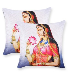 Vista Multicolour Polyester 16 X 16 Inch Womens Digital Printed Cushion Cover - Set Of 2 - 1583019