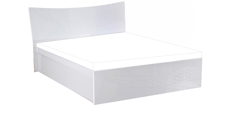 Vienna King Bed with Storage in White Colour by @home