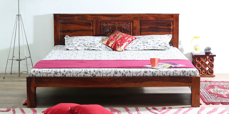 Vipra King Size Bed in Honey Oak Finish by Mudramark
