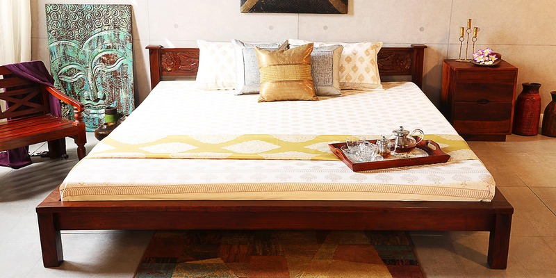 Visaya King Sized Bed in Honey Oak Finish by Mudramark