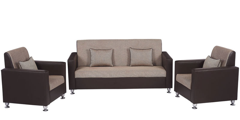 Vivid Sofa Set (3 + 1 + 1) Seater in Brown Colour by ARRA