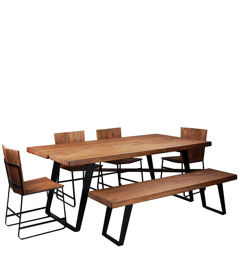 Alonzo Six Seater Dining Table Set in Premium Acacia  : vintage six seater dining table set in provincial teak finish with mudramark vintage six seater dini ay6etb from www.pepperfry.com size 800 x 880 jpeg 91kB