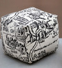 Vintage Hand-Made Pouffe in White & Black Color by The Rug Republic