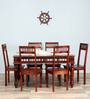 Visikha Six Seater Dining Set in Honey Oak Finish by Mudramark