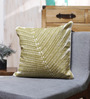 Vista Home Fashion Green Cotton 18 x 18 Inch Olive Embroidered Cushion Cover