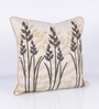 Vista Home Fashion Grey Cotton 18 x 18 Inch Embroidered Cushion Cover