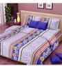 Vorhang Floral Printed Purple Cotton Double Bed Sheet Set