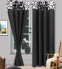 Vorhang Black Polyester Abstract Eyelet Door Curtain - Set of 2