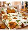 Vorhang Sunflower Yellow Cotton Double Bed Sheet (with Pillow Covers)