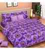 Vorhang Sunflower Print Purple Cotton Double Bed Sheet (with Pillow Covers)