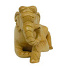 Vyom Shop Brown Wooden 5 x 2 x 3 Inch Sitting Elephant Showpiece
