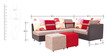 Walton Five Seater RHS Corner Sofa with (1 + 1) Pouffe in Red & Printed Red Colour by Furnitech