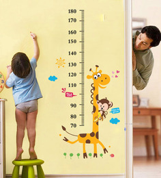 WallTola Kids Giraffe Height Chart Removable PVC Vinyl Wall Sticker