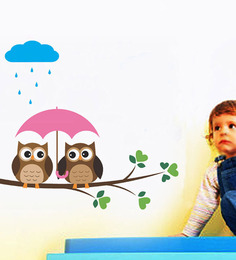 WallTola Wall Stickers Two Owls In The Rain