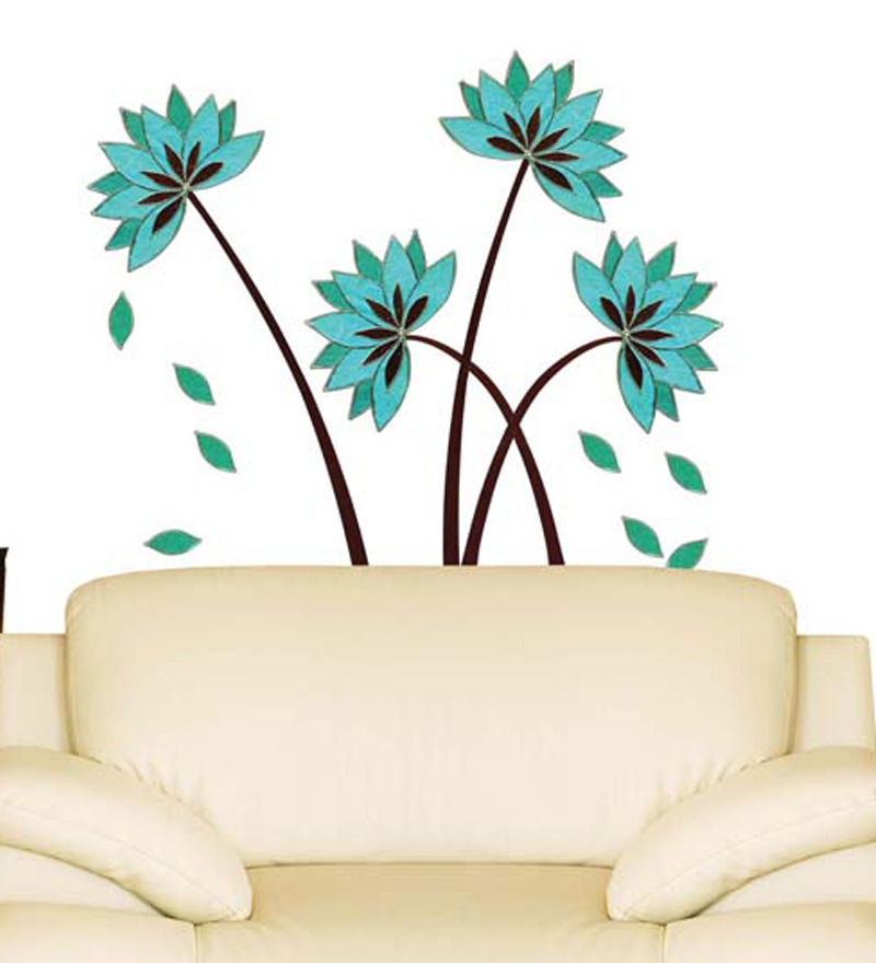 Teal Flower Wall Decor : Wall art decor teal lotus flower sticker by