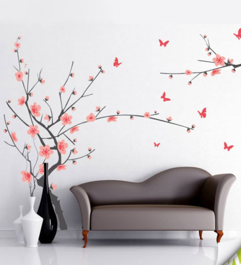 buy walltola pvc vinyl gray branch with pink flowers wall amazon wall decals compare prices on amazon wall decals