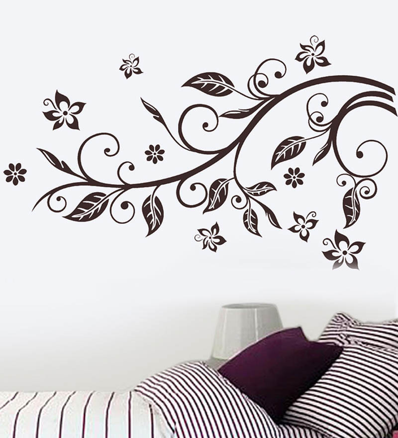 Wall stickers slender branch bedroom decor by walltola online florals home decor pepperfry - Catalog of wall design for bedroom ...