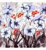 Wall Decor Blue Canvas 24 x 24 Inch Flowers Framed Digital Art Print