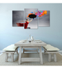 Wall Decor Canvas & Wooden Frame 36 x 24 Inch Woman Playing with Colors Art Panel - Set of 3