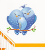 WallTola PVC Vinyl Blue Love Birds Wall Sticker