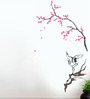 WallTola PVC Vinyl Double Sheet Crane with Floral Branch Wall Sticker