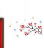 WallTola PVC Vinyl Flower Branch with Butterflies Wall Sticker