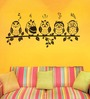 WallTola PVC Vinyl Funny Owls Emoticons Wall Sticker