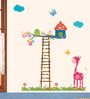WallTola PVC Vinyl Lovely Garden with Giraffe & Owl Wall Sticker