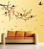 WallTola PVC Vinyl Nature Black Branch with Flowers Wall Sticker